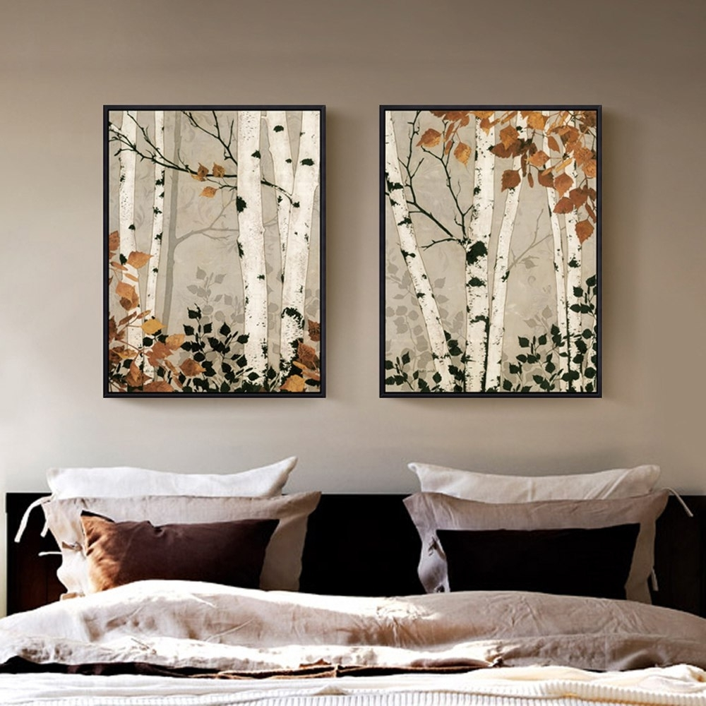 2 Panel Unframed Modern White Birch Tree Canvas Painting Wall Art With Preferred Birch Tree Wall Art (View 14 of 15)