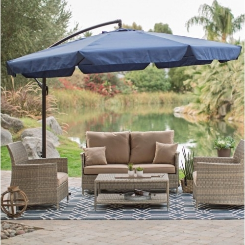 2017 11 Ft Offset Patio Umbrella In Blue With Base And Detachable With Coral Coast Offset Patio Umbrellas (View 2 of 15)