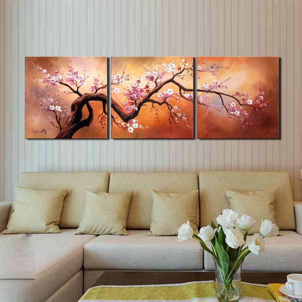 2017 3 Piece Wall Art With Regard To Shop 'plum Blossom 310' Hand Painted 3 Piece Gallery Wrapped Canvas (View 10 of 15)