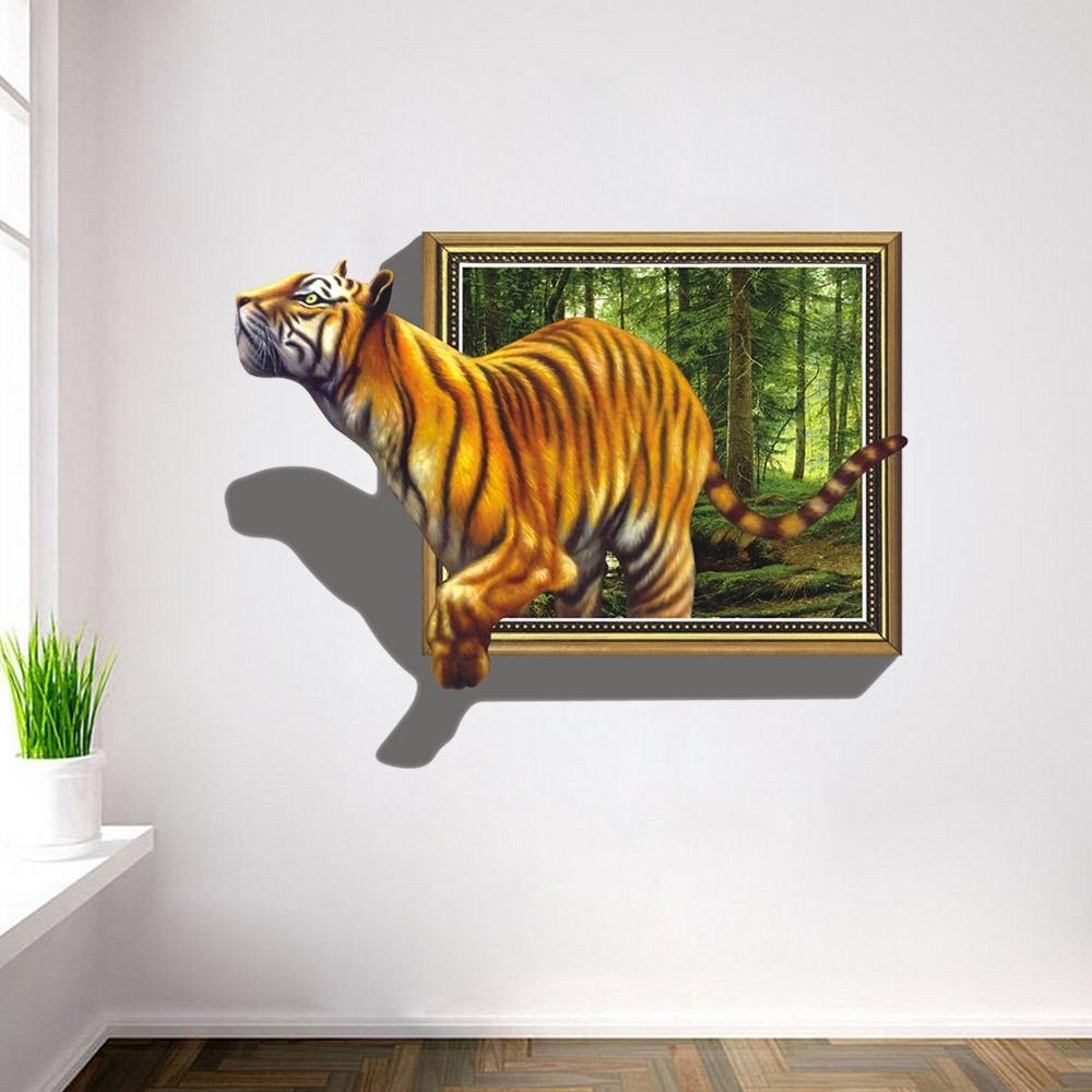 2017 3D Wall Art Pertaining To 2017 Wall Stickers 3D Tigers Picture Frame Extra Large Pvc Removable (View 3 of 15)