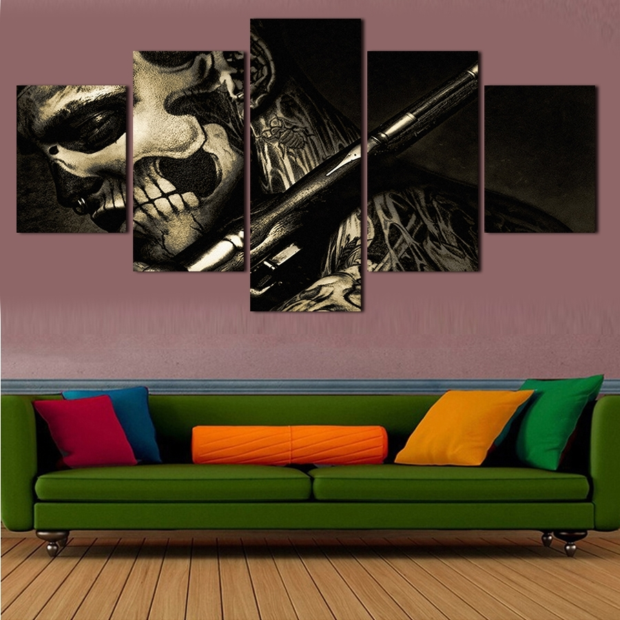 2017 5 Piece Canvas Art Black Decoration Abstract Painting Wall In Favorite 5 Piece Wall Art (View 1 of 15)