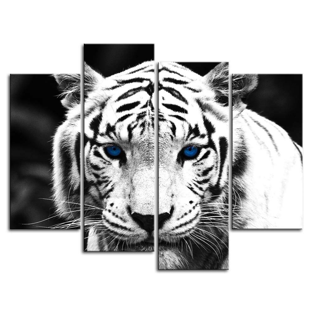 2017 Amazon: So Crazy Art Black & White 4 Panel Wall Art Painting Within Black And White Wall Art (View 15 of 15)