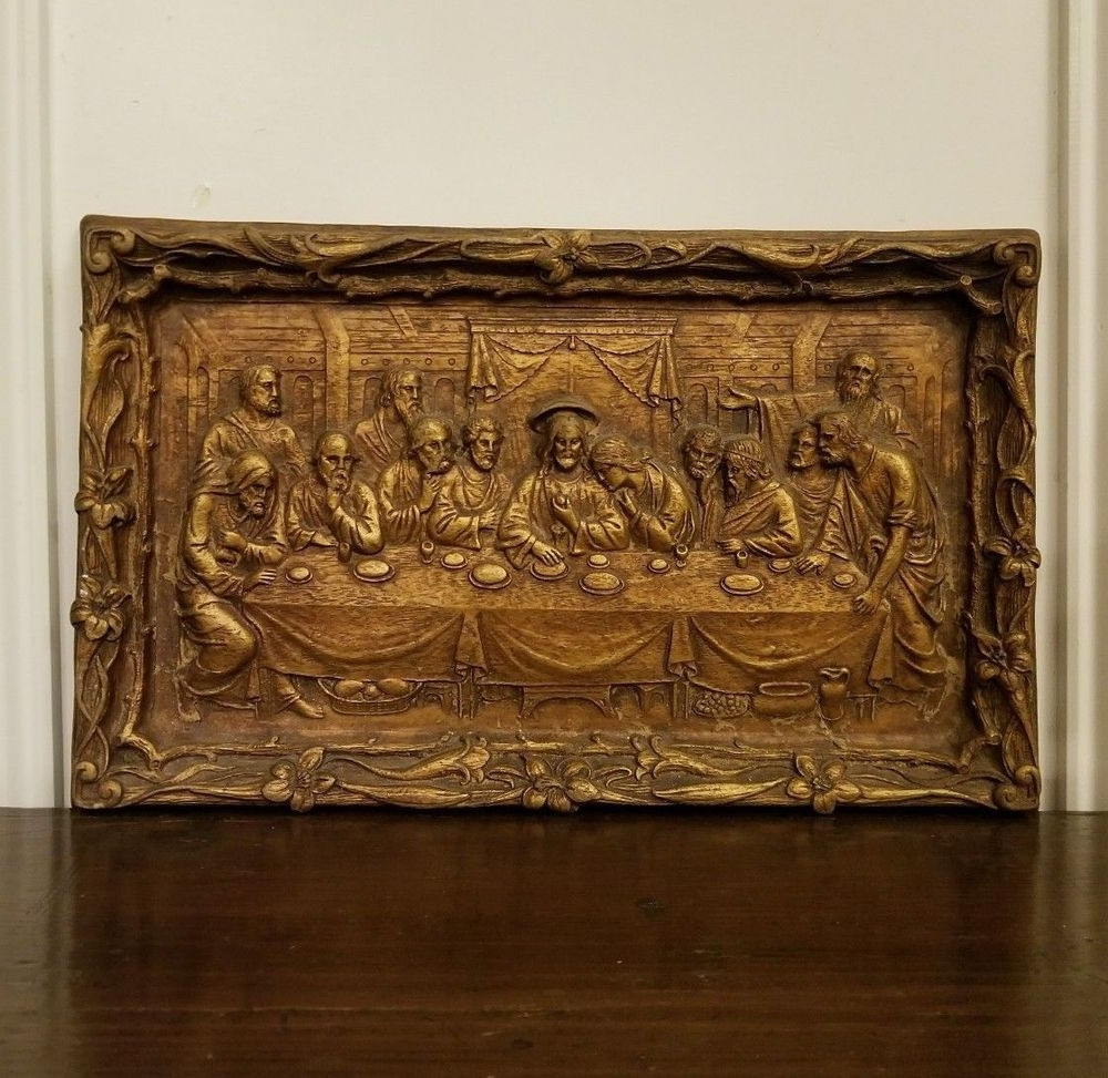2017 Bronze Wall Art With Regard To Vintage The Last Supper Chalkware Wall Plaque Hanging Gold Bronze (View 14 of 15)