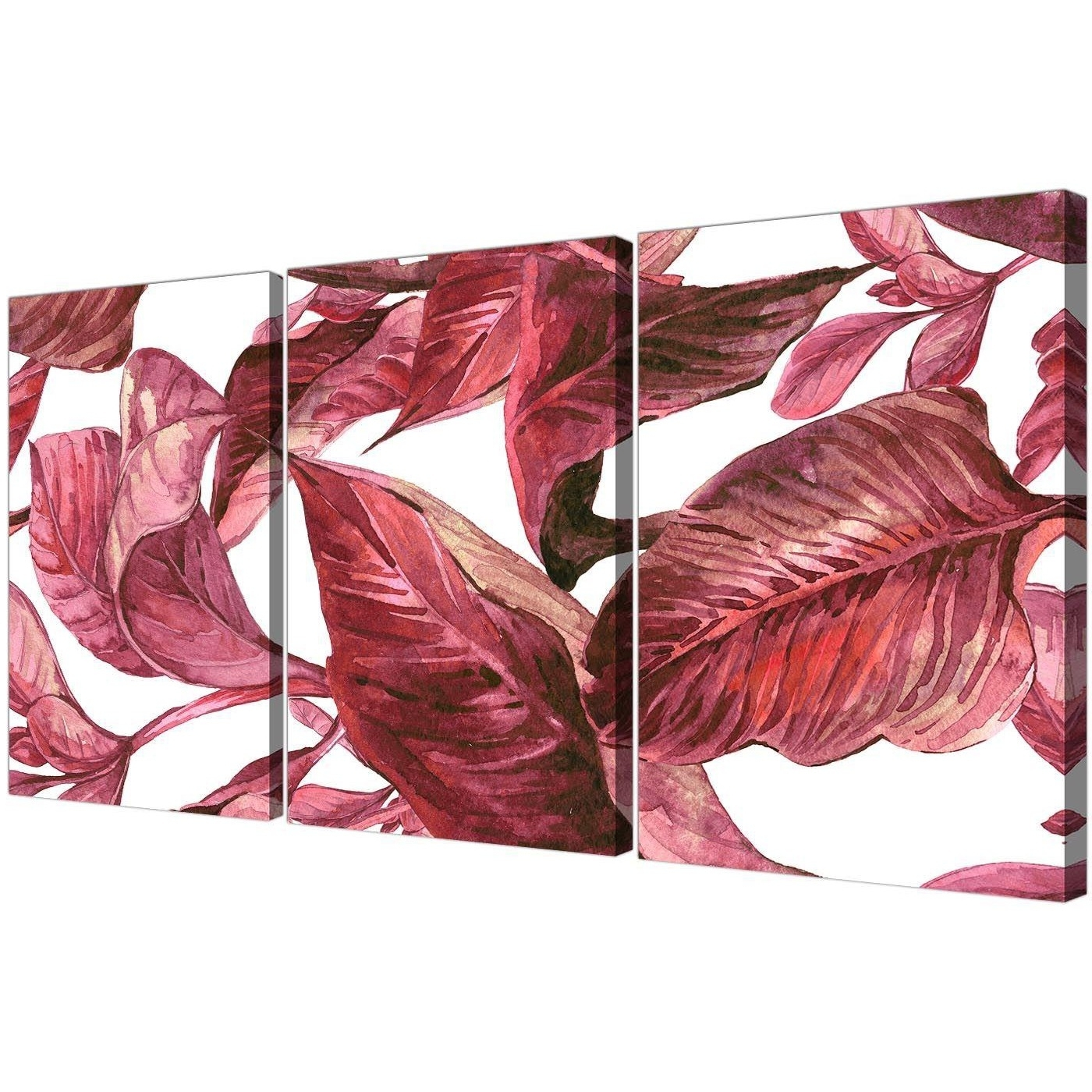 2017 Burgundy Wall Art With Dark Burgundy Red White Tropical Leaves Canvas Wall Art – Split  (View 1 of 15)