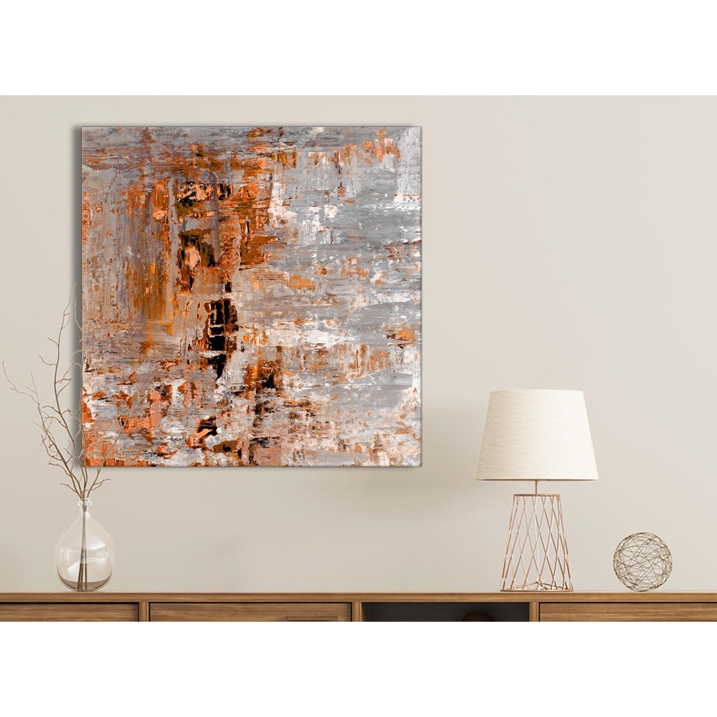 2017 Burnt Orange Grey Painting Bathroom Canvas Wall Art Accessories Intended For Grey Wall Art (View 2 of 15)