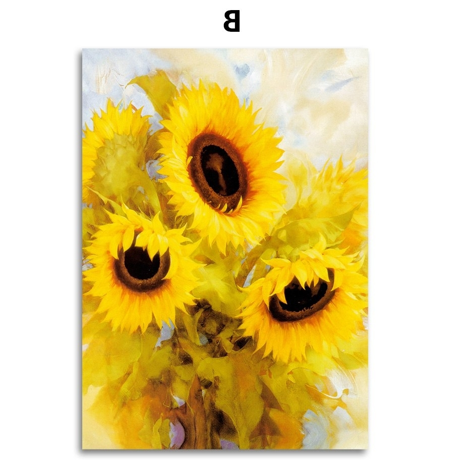 2017 Colorfulboy Nordic Print Poster Blooming Sunflower Wall Art Canvas With Regard To Sunflower Wall Art (View 10 of 15)