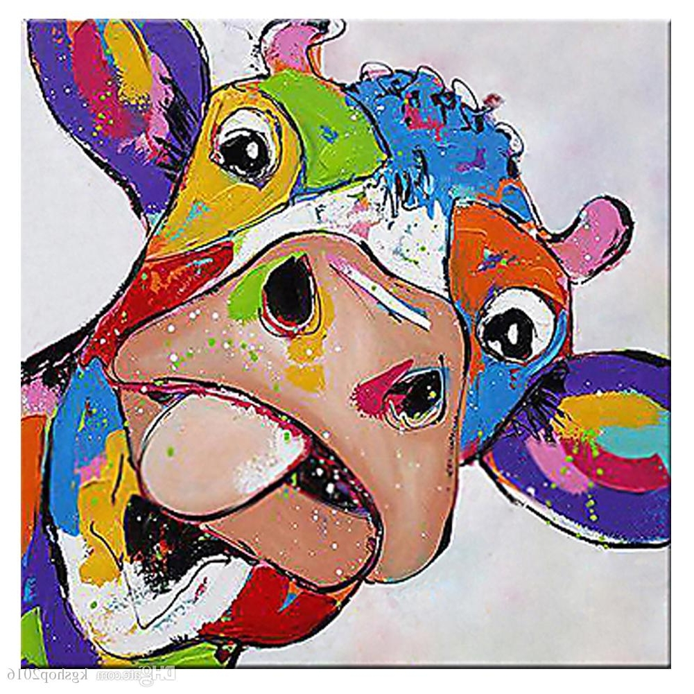 2017 Cow Canvas Wall Art With Regard To 2018 Kagree Colorful Cow Head Painting Cute Animal Paintings Funny (View 1 of 15)