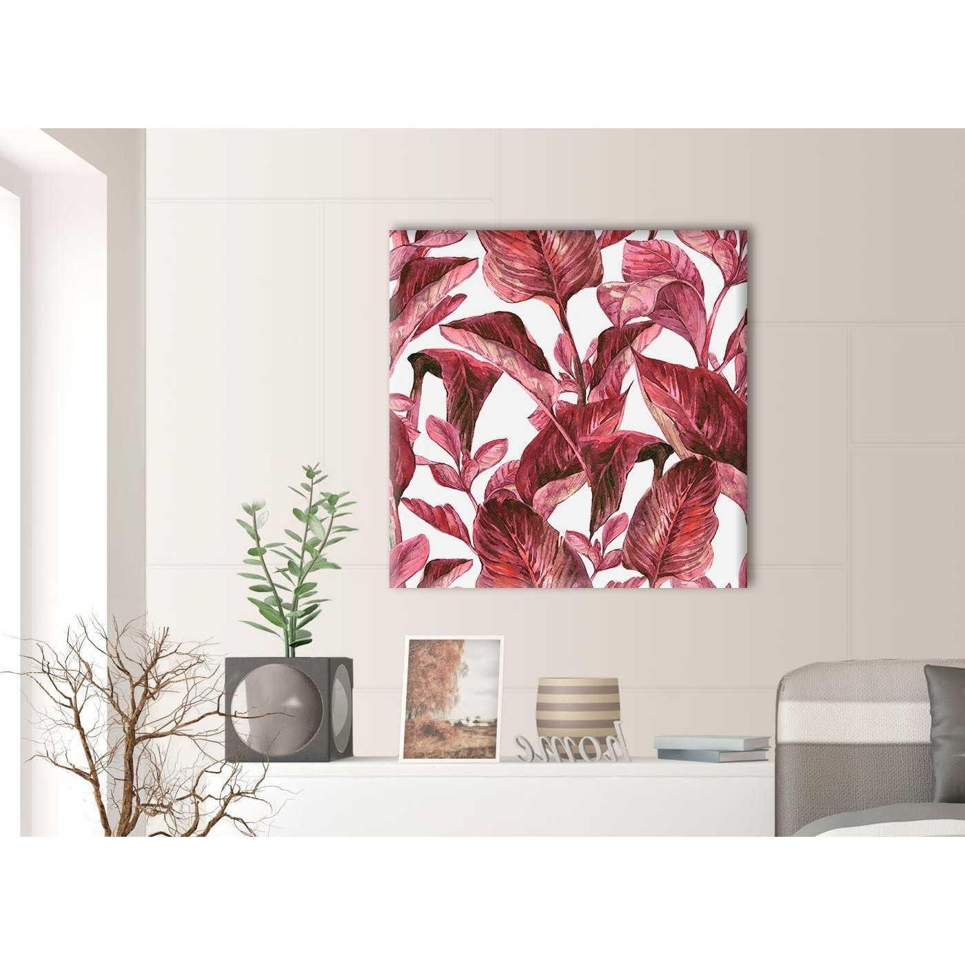 2017 Dark Burgundy Red White Tropical Leaves Canvas Wall Art – Modern With Burgundy Wall Art (View 3 of 15)