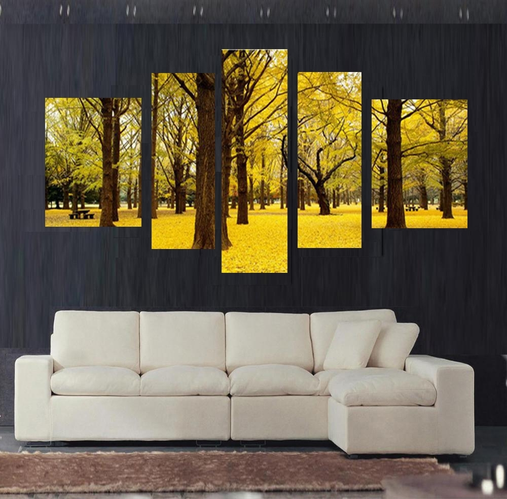 2017 Free Shipping 5Pcs Autumn Scenery Yellow Leaves Home Decor Wall Art Regarding Yellow Wall Art (View 5 of 15)
