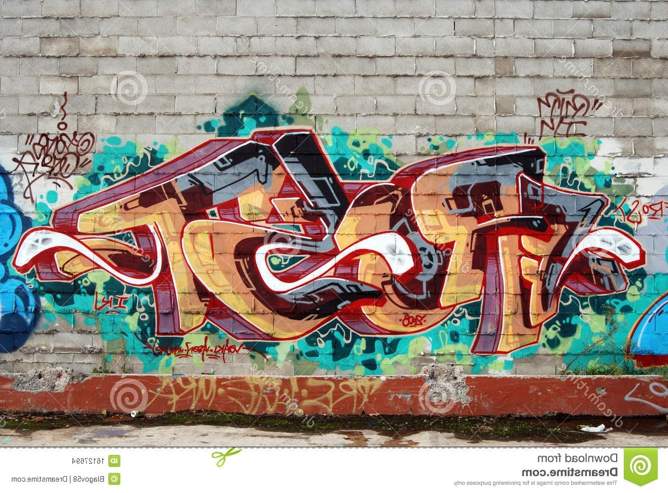 2017 Graffiti Wall Art Pertaining To A Wall Vandalized With Street Graffiti Art Stock Photo – Image Of (View 7 of 15)
