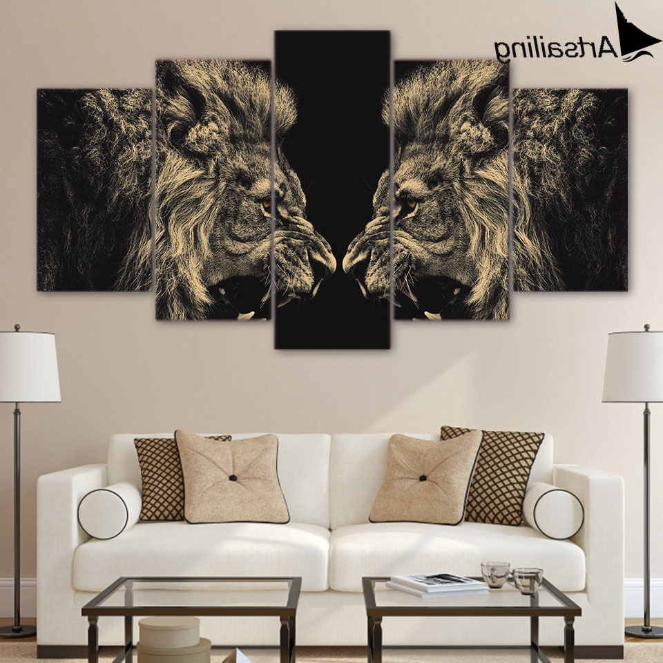 2017 Hd 5 Pieces Canvas Paintings Printed Animal Art Lion Wall Art Canvas Pertaining To Lion Wall Art (View 2 of 15)