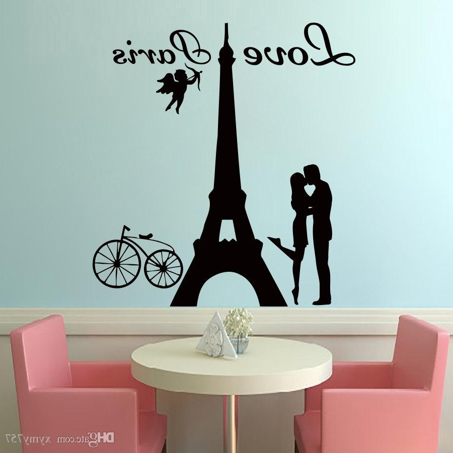 2017 Hot Sale Angels Love Paris Wall Decals Lover Kissing And Bike Inside Recent Art For Walls (View 1 of 15)