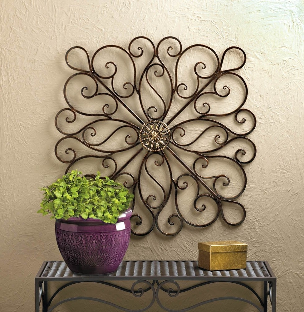 2017 Iron Wall Art Throughout Metal Art Wall Decor, Scrollwork Modern Decorative Wrought Iron Wall (View 2 of 15)