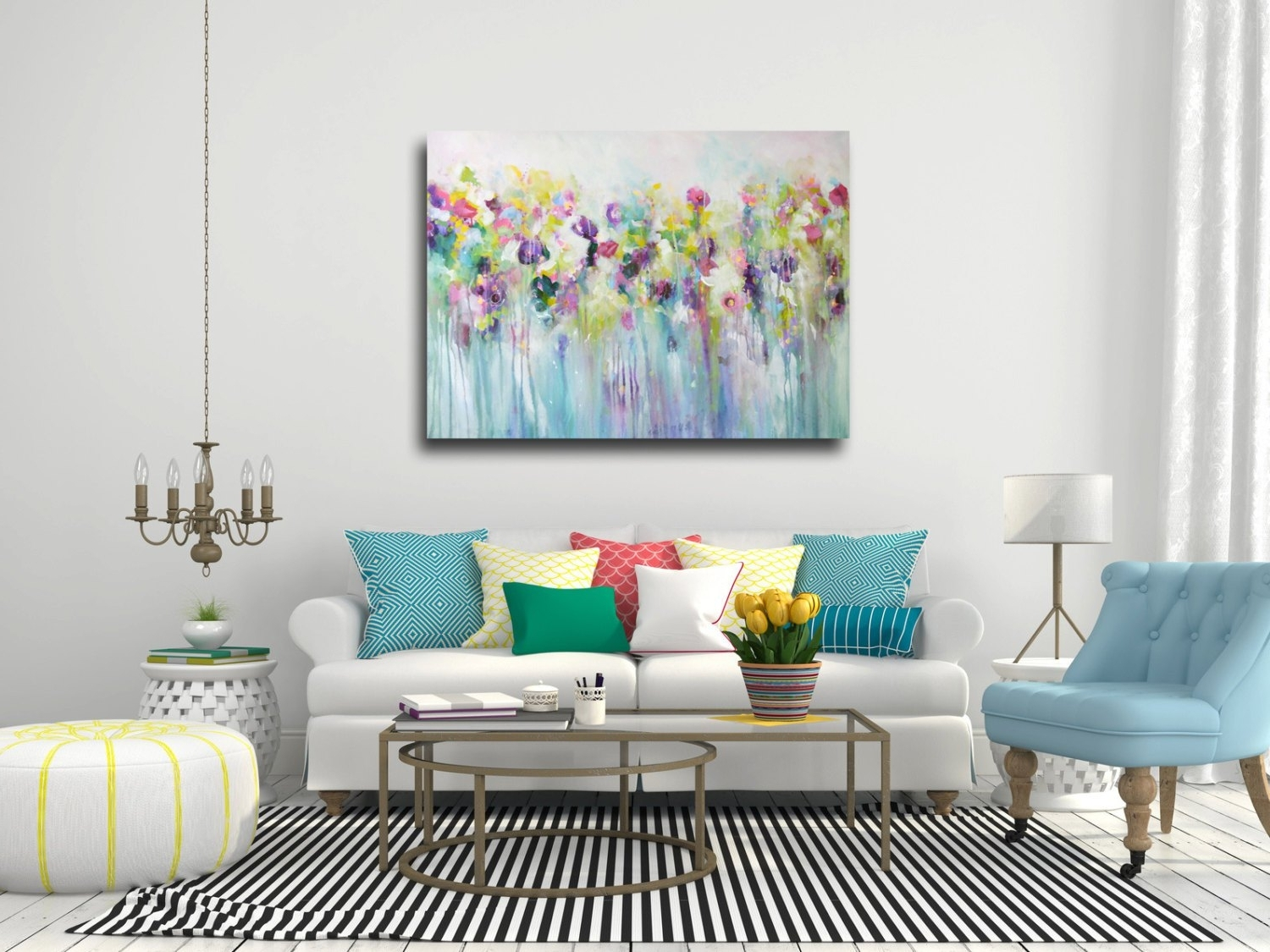 2017 Large Wall Art Canvas Art Abstract Floral Canvas Print, Oversized In Floral Canvas Wall Art (View 15 of 15)