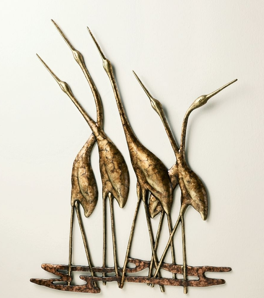 2017 Metal Wall Art Sculptures For Crane Quintet Wall Art Sculpture Metal Heron Bird Gold & Bronze (View 6 of 15)