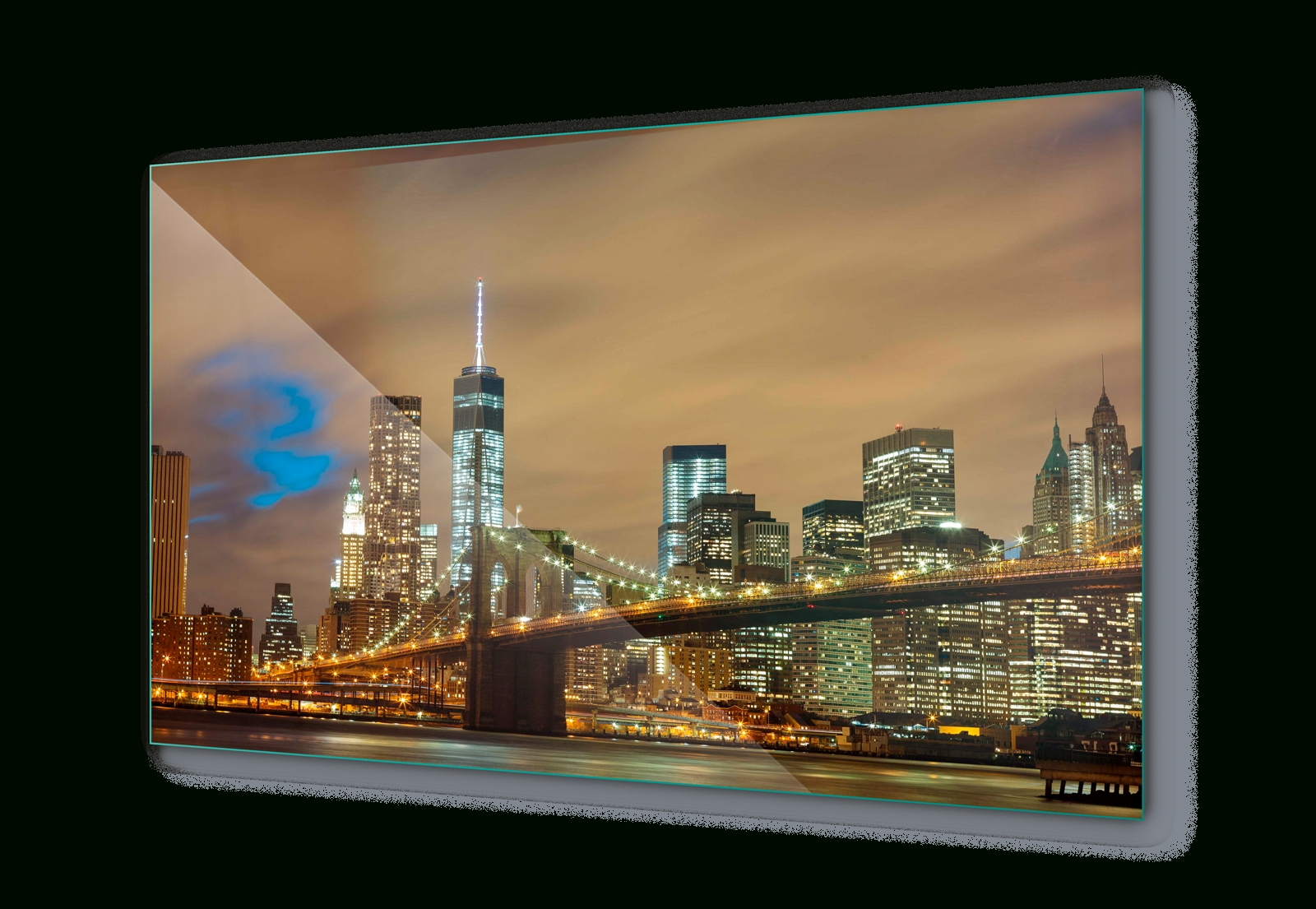 2017 New York City Wall Art For Brooklyn Bridge New York City Night Canvas & Glass Wall Art Pictures (View 2 of 15)