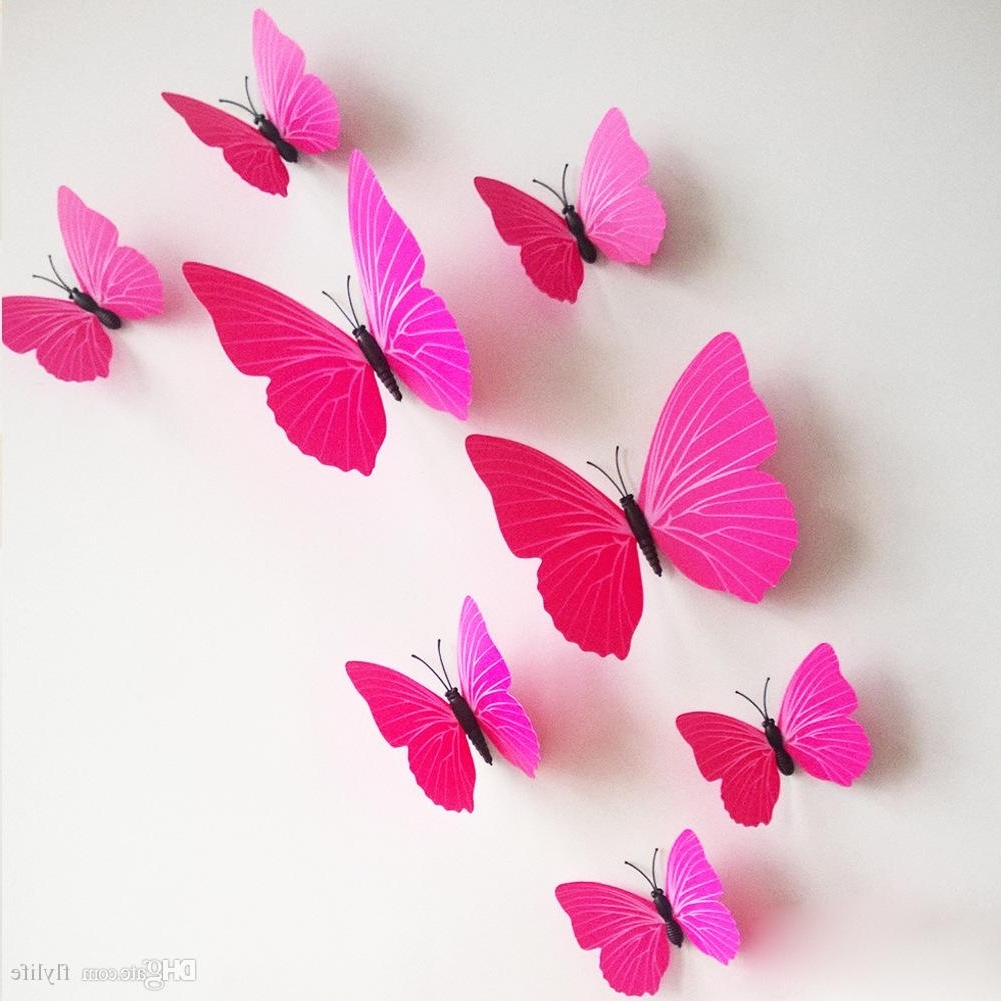 2017 Pink Wall Art Within 3D Butterfly Wall Stickers Decor Art Decorations Green Yellow Blue (View 3 of 15)