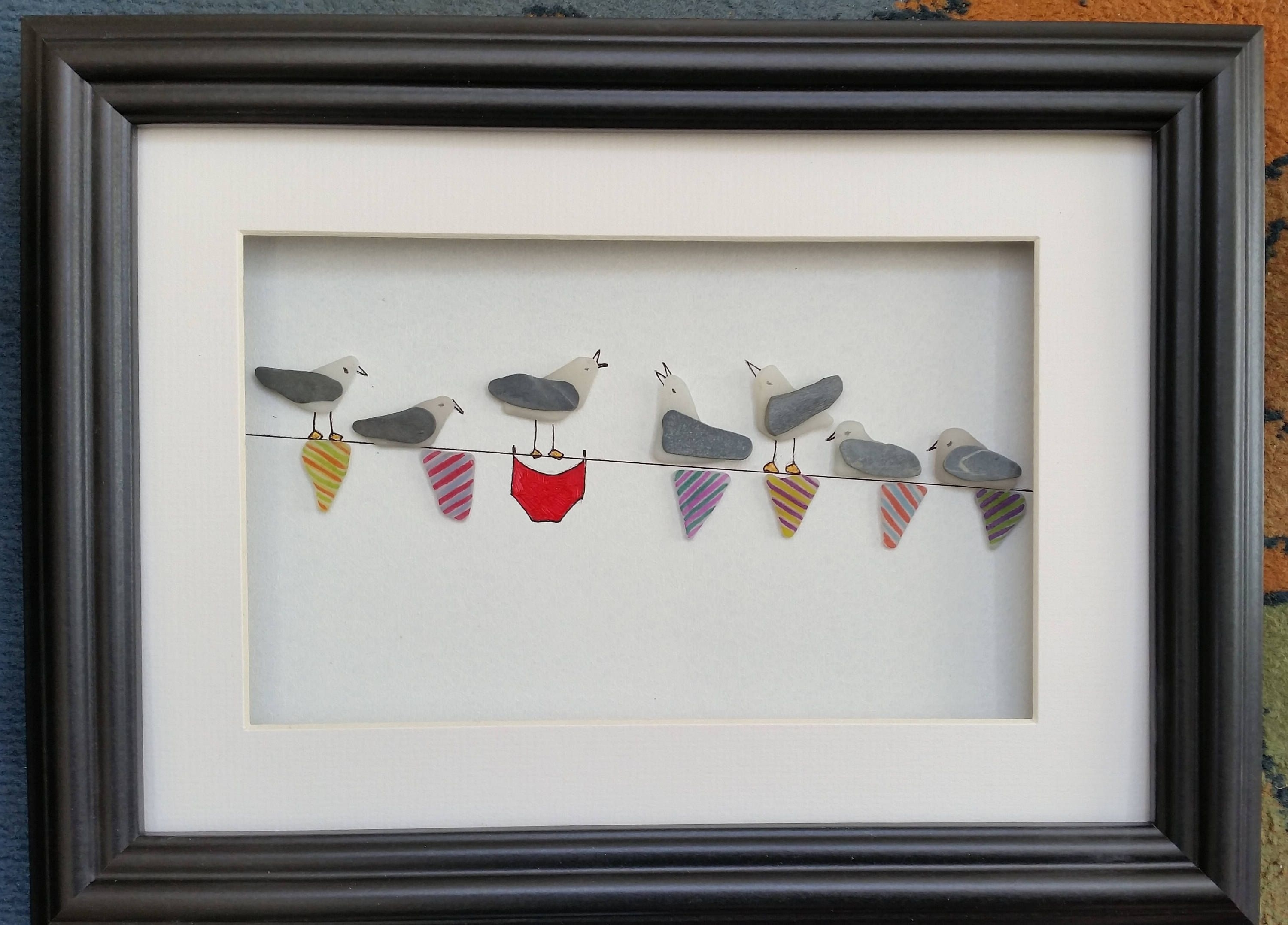 2017 Sea Glass Wall Art For Sea Glass Art, Sea Glass Seagulls, Sea Gulls On Bunting, Pebble (View 2 of 15)