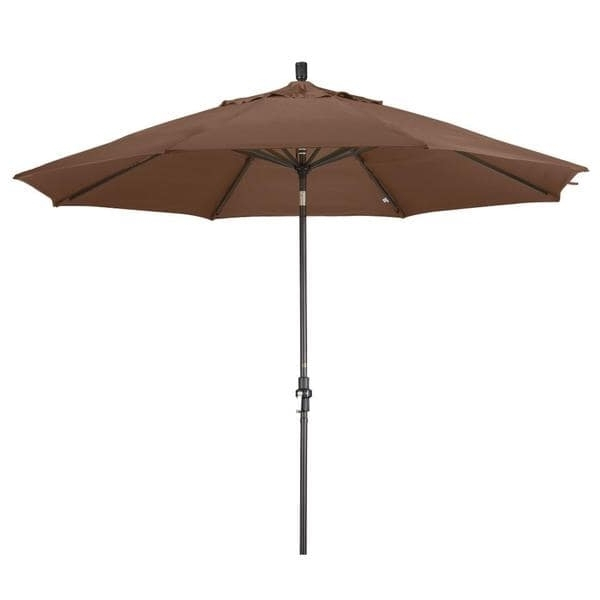 2017 Shop Aluminum 11 Ft Teak Patio Umbrella With Sunbrella – Free Inside Sunbrella Teak Umbrellas (View 4 of 15)