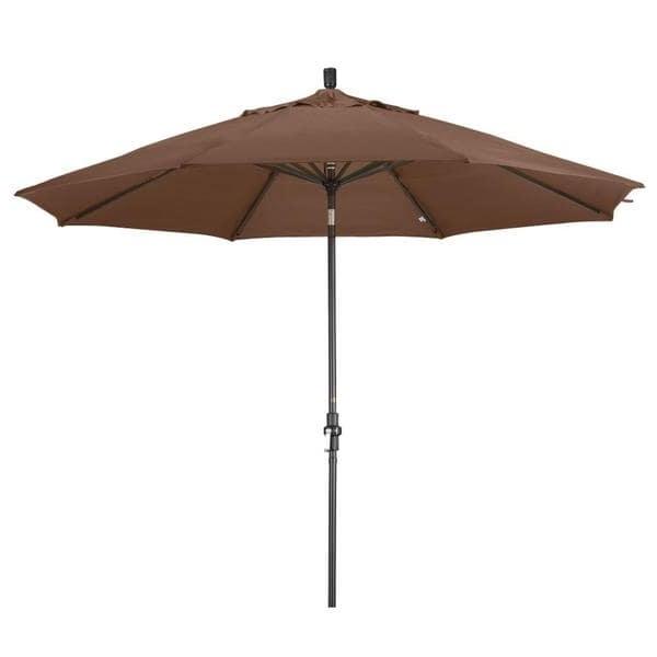 2017 Shop Aluminum 11 Ft Teak Patio Umbrella With Sunbrella – Free Inside Sunbrella Teak Umbrellas (View 4 of 15)