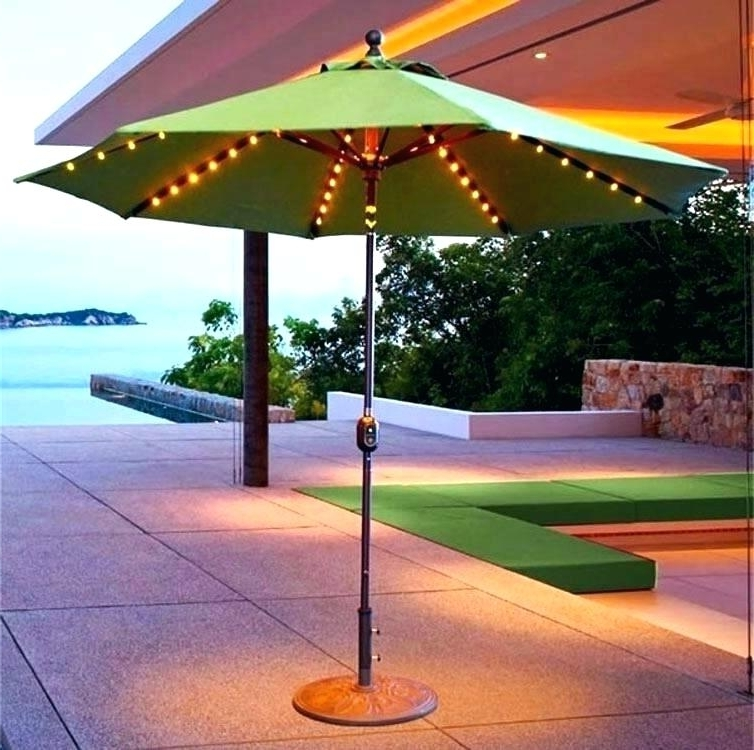 2017 Solar Outdoor Umbrella Aluminum Solar Crank And Tilt Patio Umbrella Pertaining To Solar Powered Patio Umbrellas (View 1 of 15)