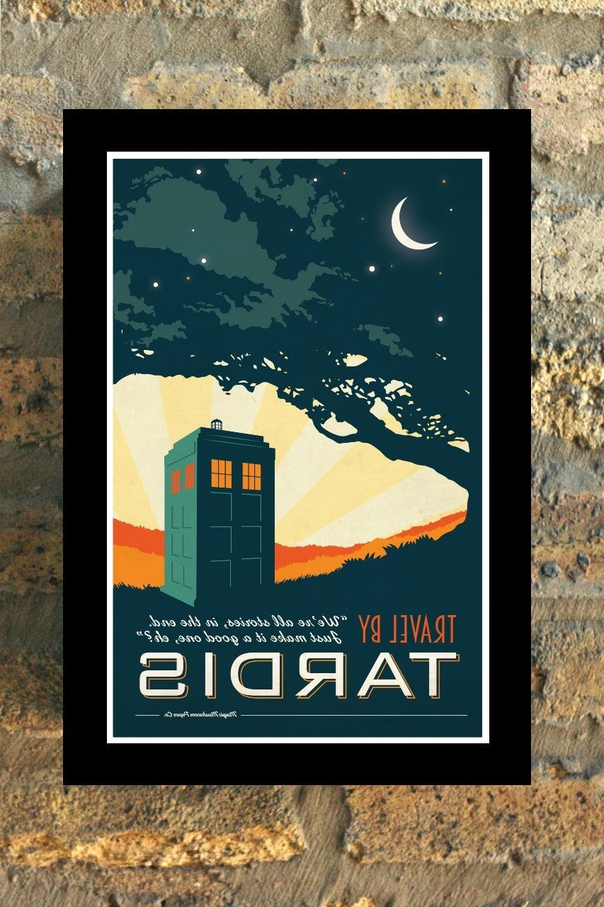 2017 Tardis Doctor Who Travel Poster Vintage Print Geekery Wall Art House Pertaining To Doctor Who Wall Art (View 10 of 15)