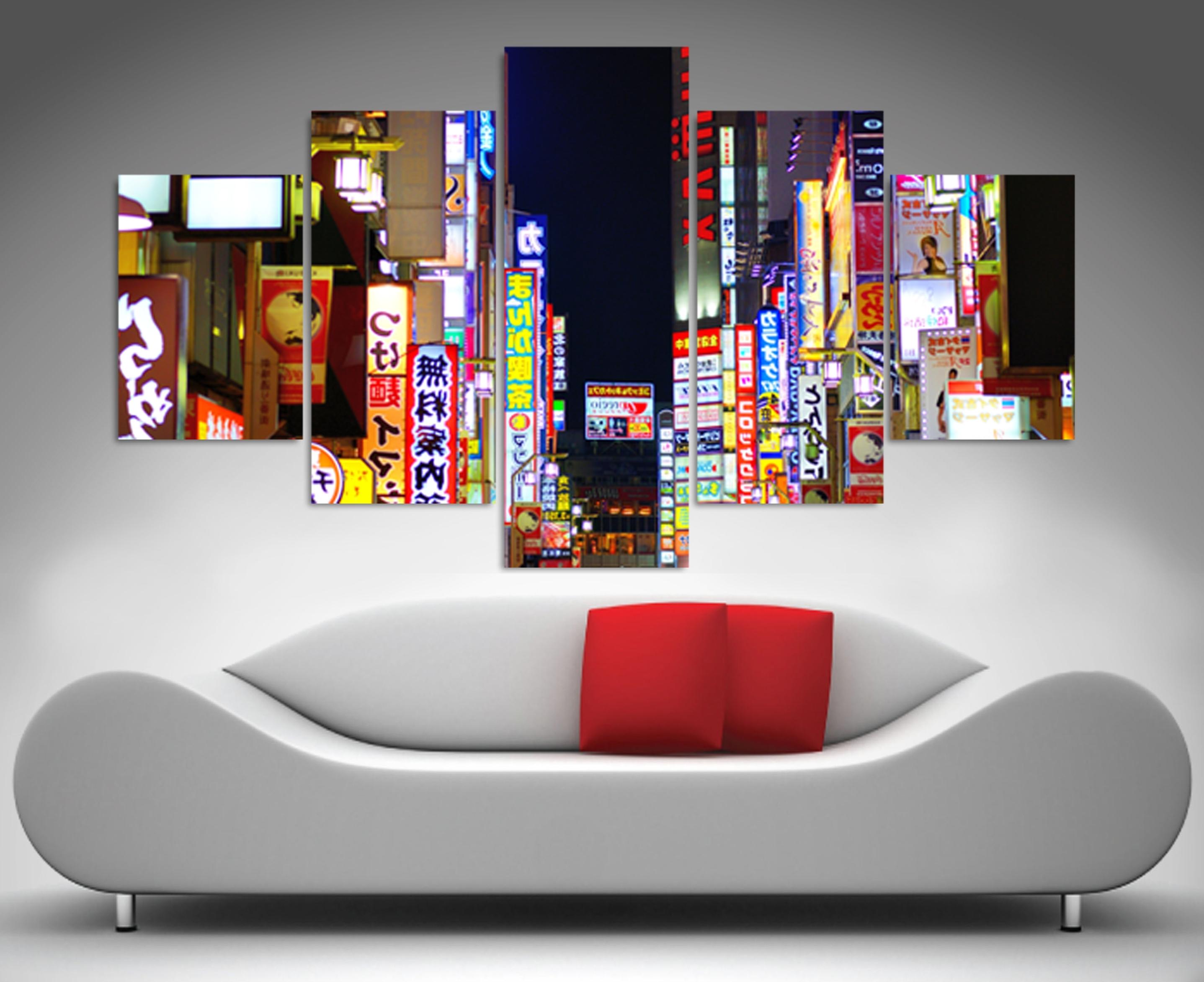 2017 Tokyo Nights 5 Panel Wall Art Print Canvas Inside 5 Panel Wall Art (View 2 of 15)