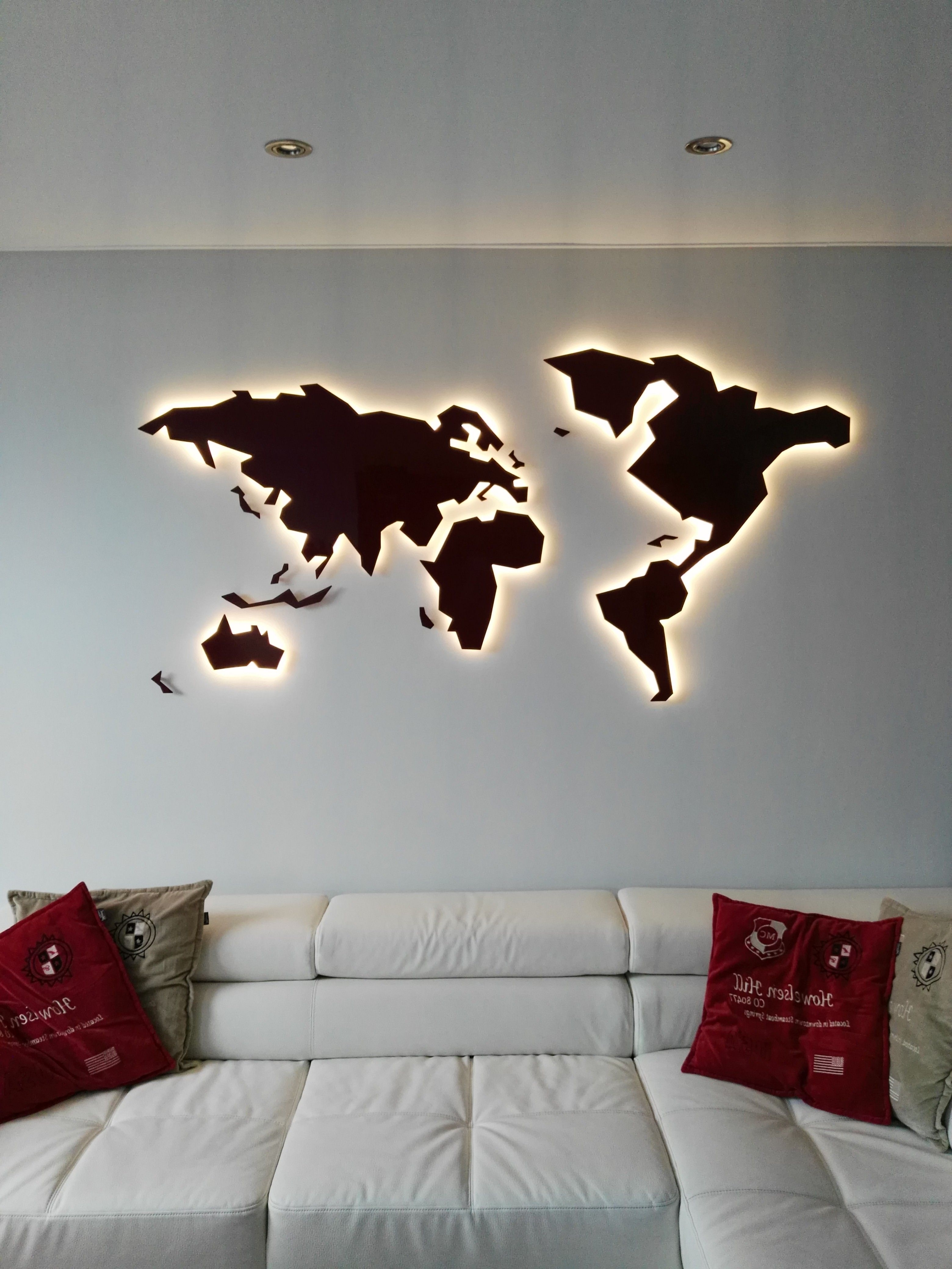 2017 Wall Art In Steel Geomundi World Maps Made In Atelier Peter In Map Of The World Wall Art (View 14 of 15)