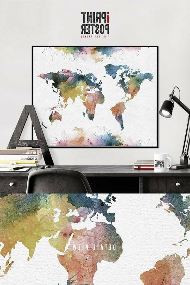 2017 Wall Art Map Of World Within World Map, Travel Map, World Map Poster, World Map Print, World Map (View 2 of 15)