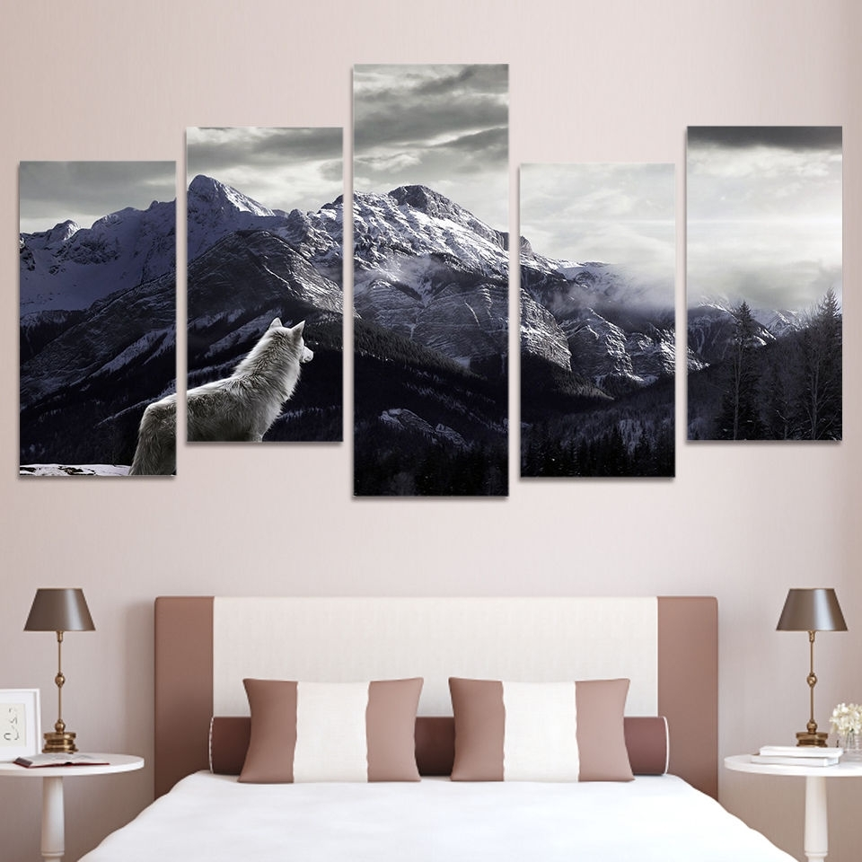 2017 Wolf Canvas 5 Piece Wall Art Prints Snow Mountain Picture Large Home In 5 Piece Wall Art (View 3 of 15)