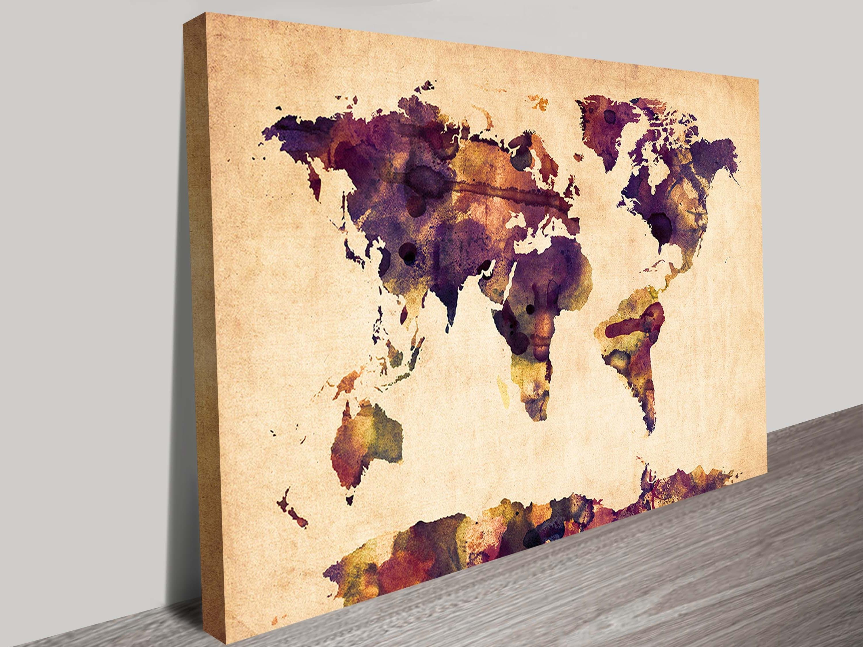 2017 World Map In Watercolour Wall Art Canvasmichael Tompsett Within World Map Wall Art Canvas (View 11 of 15)