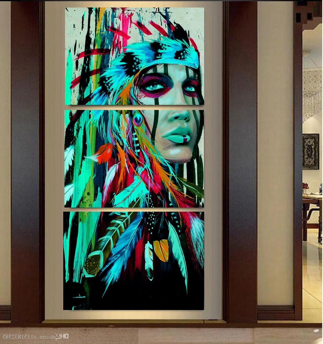 2018 2017 Abstract Print The Indians Feathered Home Decor Canvas Regarding Fashionable Native American Wall Art (View 13 of 15)