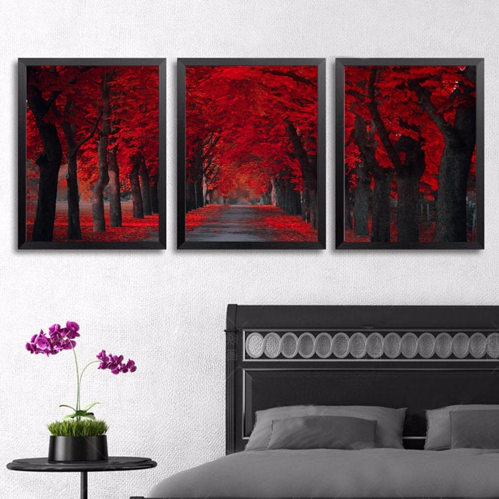 2018 3 Panels Red Forest Landscape Canvas Painting Home Decor Canvas Intended For Newest Red Canvas Wall Art (View 5 of 15)