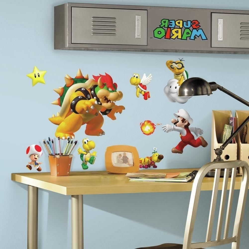 2018 35 Super Mario Nintendo Game Big Wall Decals Stickers Bowser Yoshi Pertaining To Nintendo Wall Art (View 2 of 15)