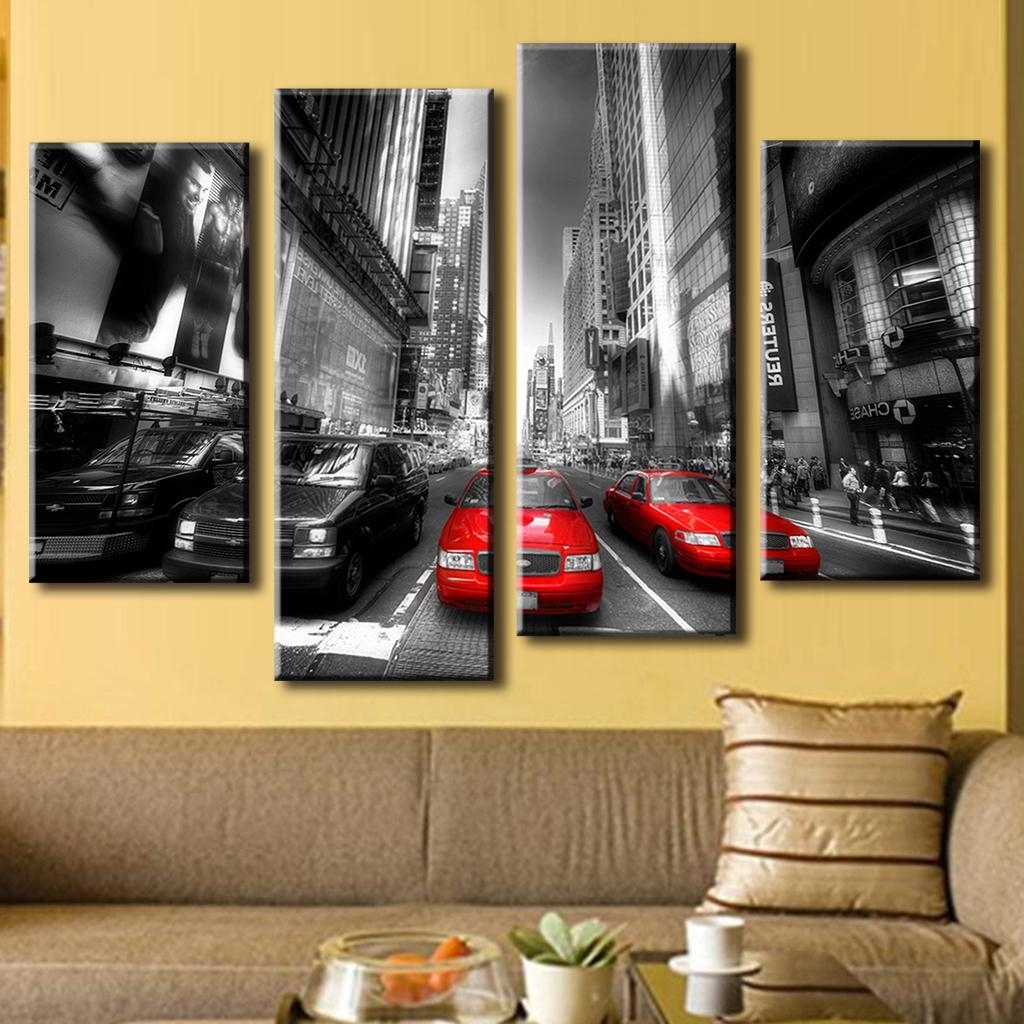 2018 4 Pcs/set Landscape Car Wall Art Decoration Modern City Red Taxis On Regarding 4 Piece Wall Art (View 5 of 15)