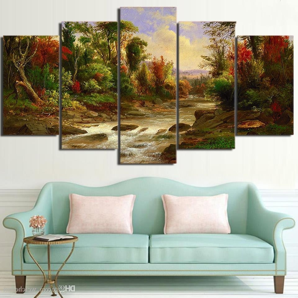 2018 5 Panel Wall Art On Canvas Citadel In Forest Modular Large For Fashionable Large Canvas Wall Art (View 1 of 15)
