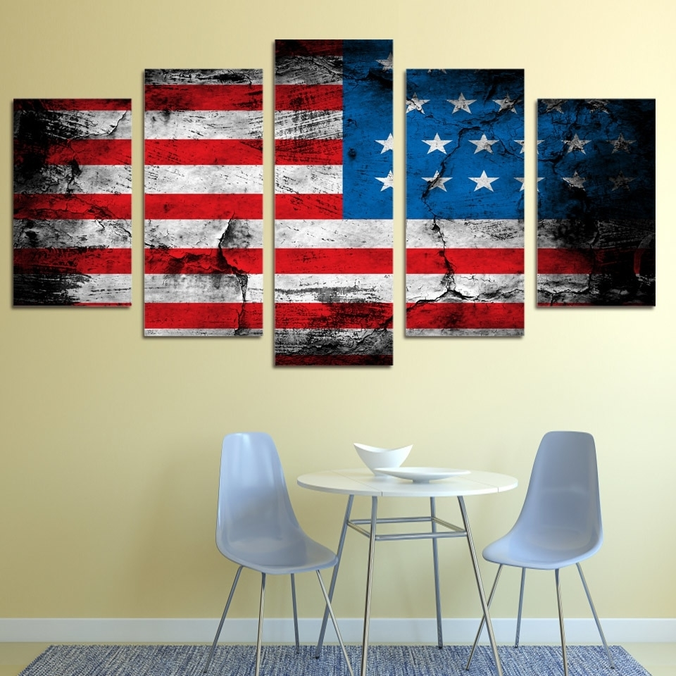 2018 5 Piece Canvas Art American Flag Printed Wall Art Home Decor Canvas Pertaining To American Flag Wall Art (View 6 of 15)