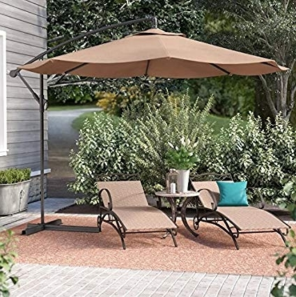 2018 Amazon : Belleze Patio Umbrella 10 Ft Offset Cantilever Umbrella With Expensive Patio Umbrellas (View 2 of 15)