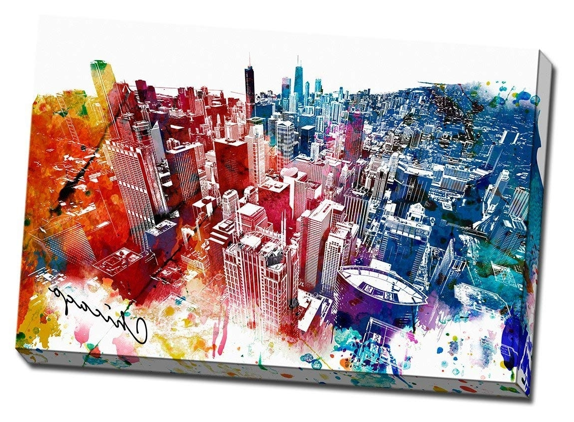 2018 Amazon: Colorful Downtown Chicago Urban Painting Canvas Wall Art With Regard To Colorful Wall Art (View 4 of 15)