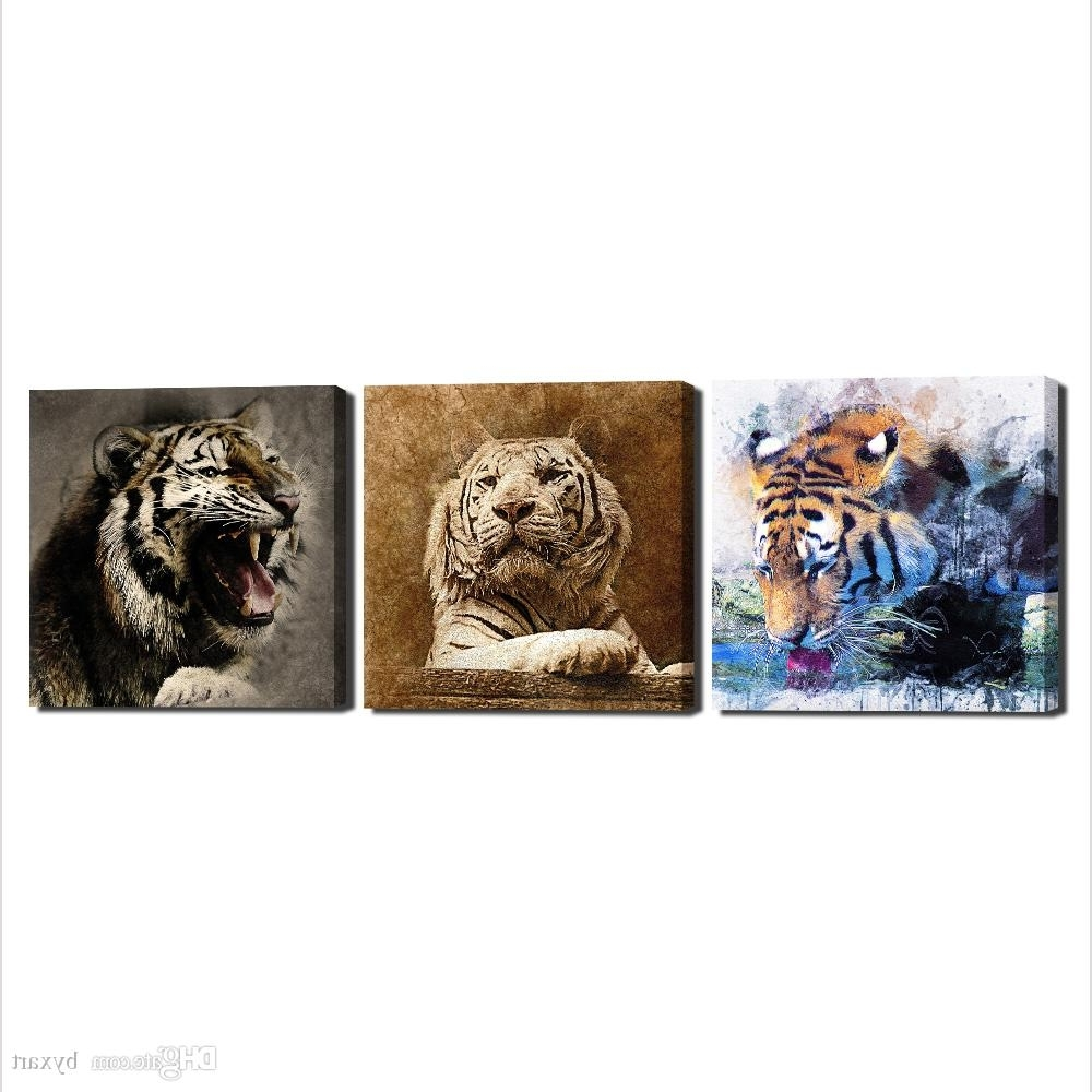 2018 Animal Canvas Wall Art With 2018 Canvas Art Wall Decor, 3 Panels Animal Canvas Art Tiger Head (View 1 of 15)