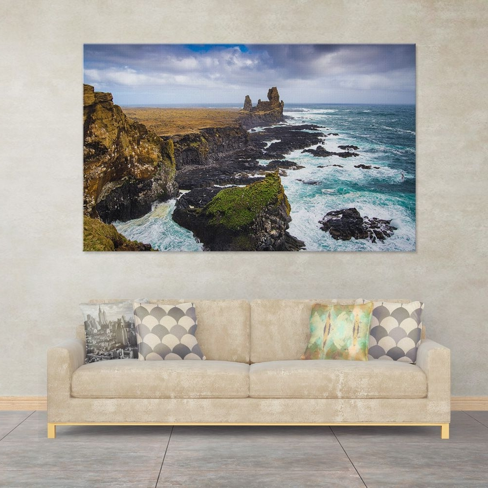 2018 Big Wall Art Regarding Big Wall Art: Iceland Coast (Londrangar Basalt Cliffs, Snaefellsnes (View 1 of 15)