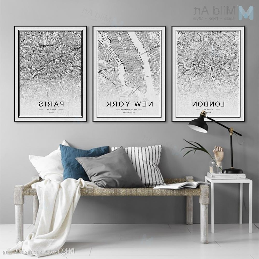 2018 Black White World City Map Poster Nordic Living Room London New With Regard To Most Recently Released Paris Wall Art (View 6 of 15)