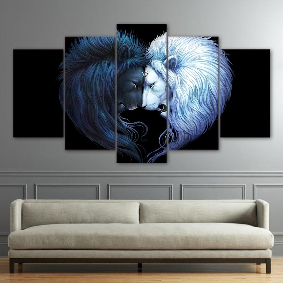 2018 Brotherhood Art Hd Print Canvas Art Black And White Lion Wall Pertaining To Well Known Lion Wall Art (View 3 of 15)