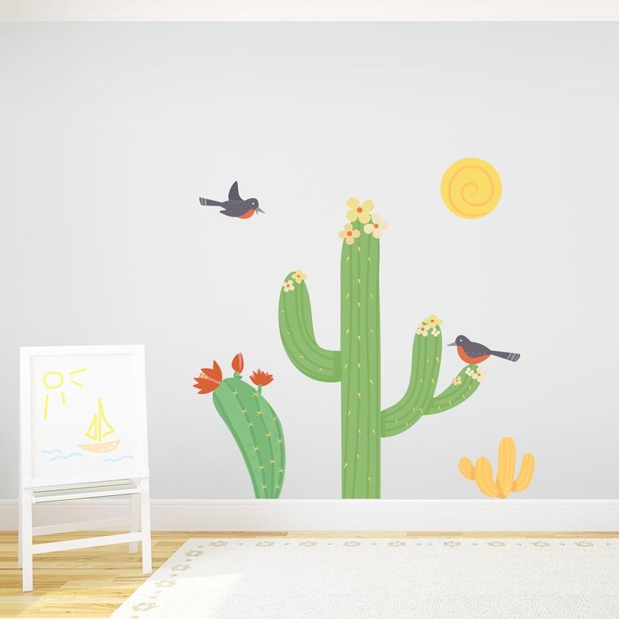 2018 Cactus Wall Art Regarding Cacti Birds Printed Wall Decal (View 3 of 15)