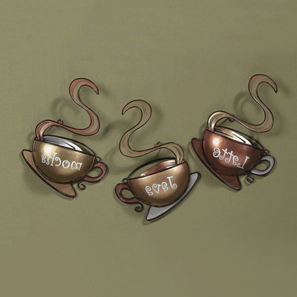 2018 Coffee House Cup Design Mug Latte Java Mocha Metal Wall Art Home Intended For Kitchen Metal Wall Art (View 2 of 15)