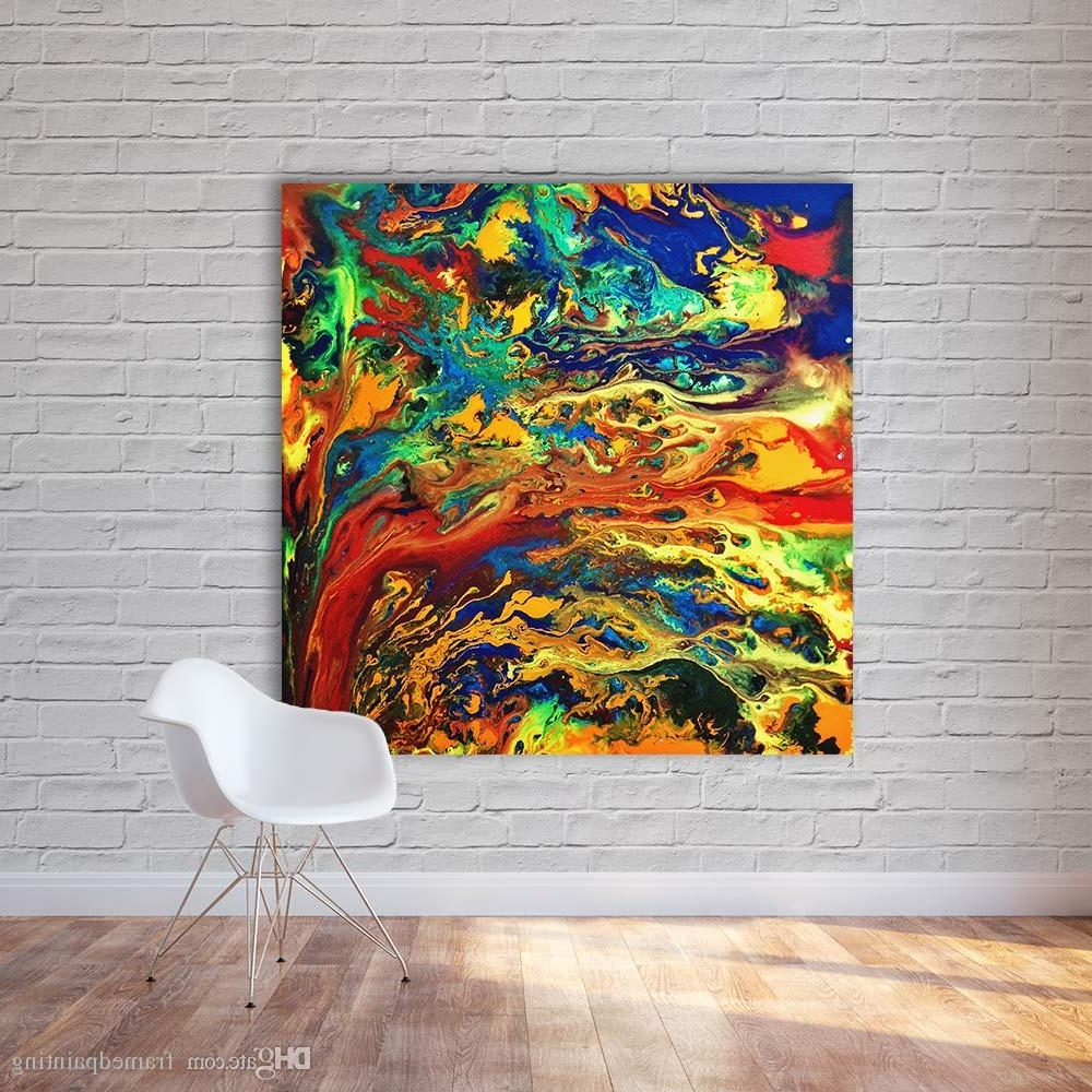 2018 Colorful Wall Art Intended For Abstract Painting Canvas Art Expressionism Colorful Wall Pictures (View 10 of 15)