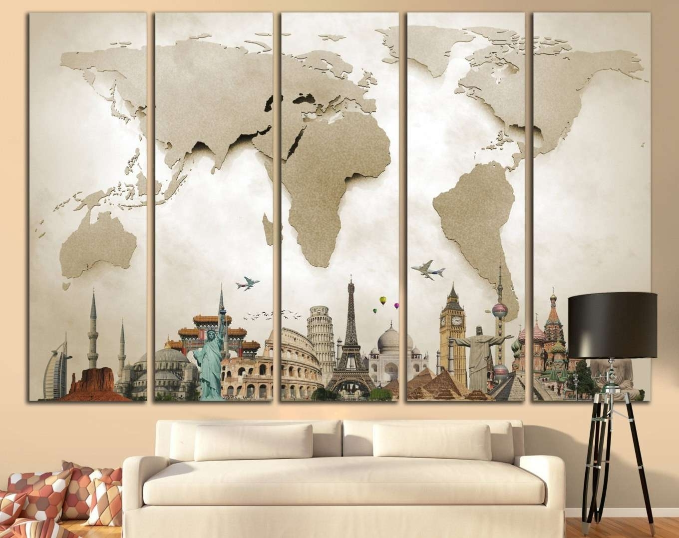 2018 Cool Map Wall Art Intended For Map Canvas Wall Art Beautiful World Map Print Beige World Map Big (View 1 of 15)