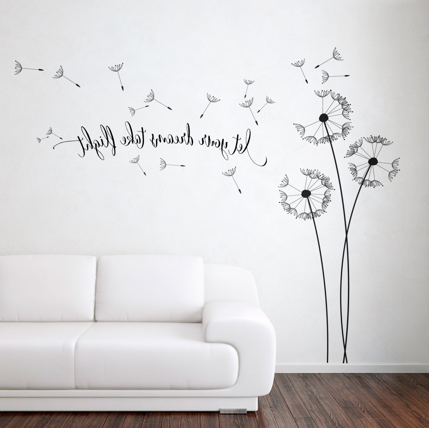 2018 Dandelion Wall Art Pertaining To Dandelion Blowing With Quote Wall Sticker, Floral Sticker, Flower (View 1 of 15)