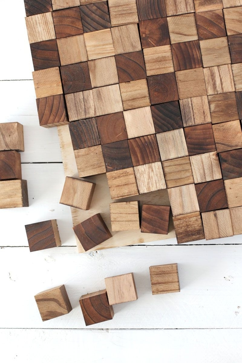 2018 Diy Wood Wall Art with regard to Square Wood Wall Art Wooden Mosaic Wall Art Diy Design Ideas Of