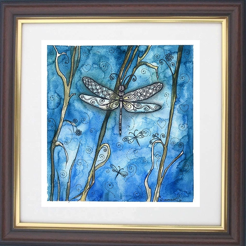 2018 Dragonfly Painting Wall Art Intended For Watercolor Dragonfly Painting, Dragonfly Drawing Art Print, Boho (View 10 of 15)